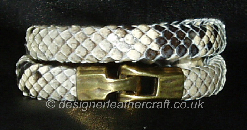 Mens Python Snakeskin Double  Wrap Bracelet 12mm